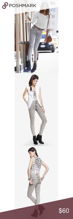 """NWOT‼️Express high rise acid wash jean legging 👖 NWOT‼️Add these high rise jeans from Express to your closet. Features a retro grey acid wash, 5 pockets and one button close with zip fly and chrome accents. Inseam 30"""", waist fits 28.5-30"""", and hips fit 39-41"""". Stretchy and form fitting material. True to size. New. Never worn! Express Jeans Skinny"""