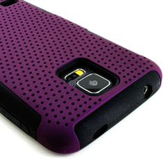 myLife (TM) Deep Violet Purple and Charcoal Black - Perforated Mesh Series (2 Layer Neo Hybrid) Slim Armor Case for the NEW Galaxy S5 (5G) S...