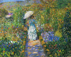 Frederick Carl Frieseke - Garden Path with Young Woman