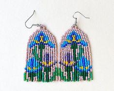 Bead Embroidery Jewelry, Beaded Embroidery, Fringe Earrings, Bead Earrings, Hama Beads, Seed Beads, Brick Stitch, Bead Weaving, Beadwork