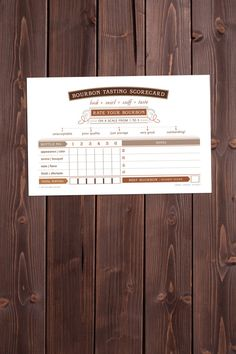 scorecard for bourbon tasting events... perfect for co-ed showers, kentucky derby parties or engagement celebrations!