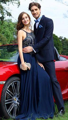 Spaghetti Straps Exquisite Bodice Navy Prom Dress Evening Dress