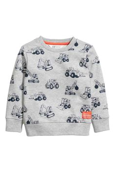 ee8abe80dbd9b Long-sleeved top in printed sweatshirt fabric with ribbing around the  neckline
