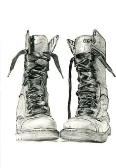 Items similar to Charcoal drawing of Doc Marten boots. Study of boots number 11 - Fine art print by Jennifer Bennett. on Etsy Drawing Sketches, Pencil Drawings, Art Drawings, Drawing Ideas, Sketching, Charcoal Drawings, Pencil Art, Object Drawing, Art Graphique