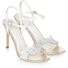 Monsoon Ayda Floral Embroidery Sandal ($158) ❤ liked on Polyvore featuring shoes, sandals, flower shoes, ankle strap bridal shoes, monsoon shoes, ankle tie sandals and embroidered sandals