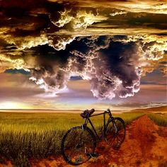 storm's coming. bike, 2 wheels. landscape, cloudy sky, beauty of nature, photo
