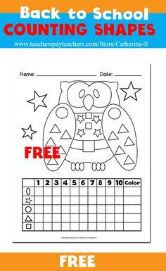 Free printable - Counting Shapes  #kindergarten #tpt #teacherspayteachers #homeschool