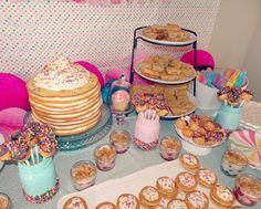 Pancakes and Pajamas birthday party decoration ideas. Girls Birthday Party Games, Sleepover Birthday Parties, Birthday Brunch, Birthday Party Decorations, Third Birthday, Birthday Ideas, Pancake Party, Pancake Cake, Donut Party