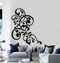 Vinyl Wall Decal Patterns Romantic Love Heart Ornament Stickers (445ig)
