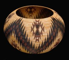 Mono Lake Paiute Polychrome Basket by Carrie Bethel | Sedge, bracken fern and redbug on willow rods | Collected ca 1960.