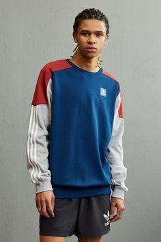 adidas Skateboarding Climalite Nautical Crew Neck Sweatshirt - Urban Outfitters