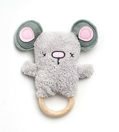 Cozy Mouse Teether | Wooden Baby Rattle | OB Designs - Brimful Toys