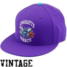 Mitchell & Ness Charlotte Hornets Purple Basic Vintage Logo Flat Bill Fitted Hat