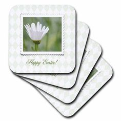 3dRose Ox Eyed Flower in Frame on Pale Green Diamond Design, Happy Easter, Ceramic Tile Coasters, set of 4