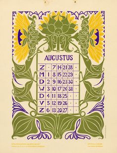 Bloem en blad (Flower and leaf). Vintage Calendar, Art Calendar, Calendar Girls, Calendar Design, Season Calendar, Spider Art, Geometric Quilt, Art Nouveau Tiles, Leaf Illustration