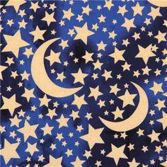 navy blue Moon and Stars glitter fabric Michael Miller USA 1