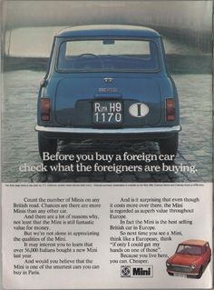 Vintage magazine car advertisement, British Leyland Mini, early 1970's.