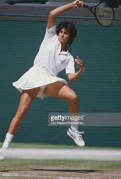 Argentine tennis player Gabriela Sabatini pictured in action during competition to reach the quarterfinals of the Ladies' Singles tournament at the Wimbledon Lawn Tennis Championships at the All. Get premium, high resolution news photos at Getty Images Wta Tennis, Tennis Wear, Lawn Tennis, Sport Tennis, Wimbledon, Tennis World, Tennis Legends, Professional Tennis Players, Tennis Players Female