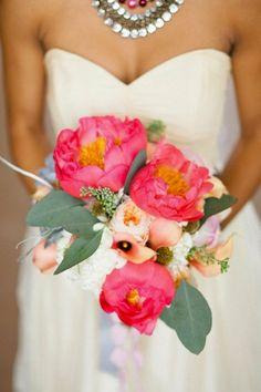 Peony Wedding Flowers --- like the bright pop of colour