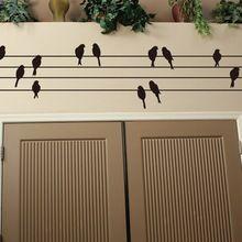 1 st big 115*30 cm bladmuziek vogels achtergrond thuis muurtattoo verwijderbare waterdichte vinyl muursticker voor kinderkamer store venster(China (Mainland))