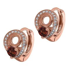 1.29 Ct Round Red Garnet 18K Rose Gold Plated Silver Earrings, Women's