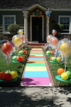 Candy land Birthday Party. Darling - I am assuming the color on the sidewalk is chalk!!  Way cute