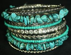 Silver, Turquoise, and Crystal Bangle Set from giddyupglamour