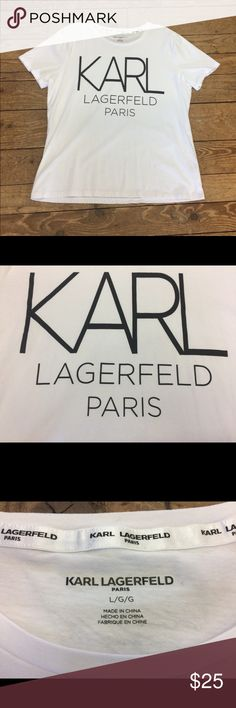 Karl Lagerfeld White Graphic Tee Karl Lagerfeld is the head designer and creative director of Chanel and Fendi as well as his own eponymous fashion label. Stretch cotton white tee with bold black logo graphic. Crew neck. Short sleeve. 100% cotton. Beautiful like-new condition. Karl Lagerfeld Tops Tees - Short Sleeve