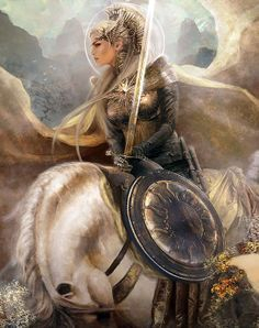 Valkyrie- Norse mythology, a valkyrie is one of a host of female figures who choose those who may die in battle and those who may live. Selecting among half of those who die in battle the valkyries bring their chosen to the afterlife hall of the slain, Valhalla, ruled over by the god Odin. Valkyries also appear as lovers of heroes and other mortals, where they are sometimes described as the daughters of royalty, sometimes accompanied by ravens, and sometimes connected to swans or horses.