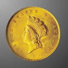 Because the strike for the first two types of the American gold dollar rare coin series was often weak, the obverse design of the classically beautiful Indian Princess Head Gold Dollar Type III (1856-1889) was adopted directly from the three-dollar gold piece.