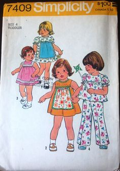 Smock Dress Pattern Or Top and Pants Peter Pan Collar Yoked Flared Pull On Pants Simplicity 7063 Size 4 Vintage Sewing Pattern Kids Dress Patterns, Childrens Sewing Patterns, Simplicity Sewing Patterns, Vintage Sewing Patterns, Clothing Patterns, Sewing Ideas, Sewing Projects, Vintage Kids Clothes, Vintage Girls