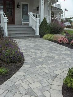31 Most Popular Paver Walkway Design Ideas 56 - DecoRequired Front Walkway Landscaping, Front Yard Walkway, Backyard Walkway, Brick Walkway, Concrete Walkway, Outdoor Landscaping, Landscaping Ideas, Front Porch, Driveway Pavers
