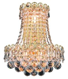 View the Elegant Lighting 1901W12SG Century 3-Light Crystal Wall Sconce, Finished in Gold with Clear Crystals at LightingDirect.com.