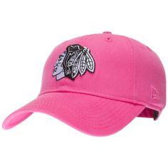 Chicago Blackhawks Women's Neon Pink Black and White Logo Adjustable Hat by New Era #Chicago #Blackhawks #ChicagoBlackhawks