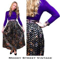 Vtg 60s Maxi Dress Purple Metallic Gold Full Skirt Poly Chiffon Op Art Floral XS #SandineOriginals