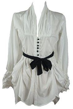 White cotton hitched victorian fitted shirt blouse tunic-12 40 steampunk pirate gothic style NYL New York Laundry http://www.amazon.co.uk/dp/B00N1XDDZ2/ref=cm_sw_r_pi_dp_g5j.tb10ZX7Q9