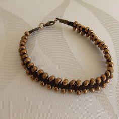 Bracelet homme coton rocaille couleur bronze