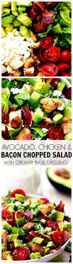 Avocado, Chicken & Bacon Chopped Salad with Creamy Basil Dressing _ This salad could be devoured even without the dressing. But the dressing is fantastic! It is a sweet & tangy dressing with chopped basil inside.