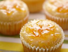 Orange-Yogurt Muffins with Marmalade Glaze #orange #yogurt #muffin #recipes
