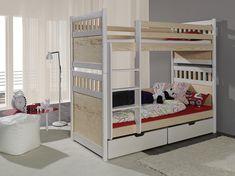 Pat etajat din lemn masiv de pin pentru copii Salomon #homedecor #interiordesign #inspiration #homedesign #kidsroom #bedroom Mattress Covers, Bed Mattress, Childrens Bunk Beds, Bunk Beds With Drawers, Canopy Curtains, Wood Joinery, Built In Desk, Bed Sizes, Kid Beds