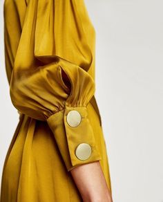 How to wear mustard yellow Was soll ich anziehen? Sleeves Designs For Dresses, Sleeve Designs, Zara Dresses, Satin Dresses, Yellow Satin Dress, Dressy Dresses, Gold Dress, Hijab Fashion, Fashion Dresses