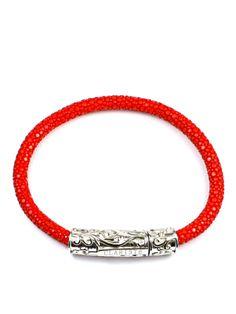 Men's Red Stingray Bracelet with Silver Lock Lady In Red, Bracelets, Silver, Jewelry, Madame Red, Jewlery, Jewerly, Schmuck, Jewels