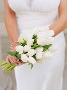 A chic bouquet of #white #tulips. (Photo by Shelly Kroeger) #wedding