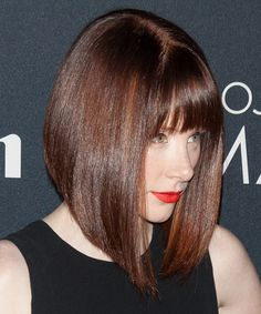 Bryce Dallas Howard Hairstyle - Formal Medium Straight. Try on this hairstyle and view styling steps! http://www.thehairstyler.com/hairstyles/formal/medium/straight/Bryce-Dallas-Howard-concave-bob-with-jagged-cut-bangs-hairstyle