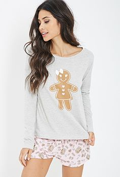 Gingerbread Print PJ Set | FOREVER21 - 2000081430