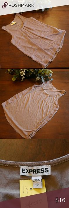 🐝Shimmering Brown Tank Top The chiffon front flows in a flattering way, accented by subtle sparkles. Soft and fitted, it works well in a layered outfit or solo. In great condition. Made from a poly/rayon blend. 10451 Express Tops Tank Tops
