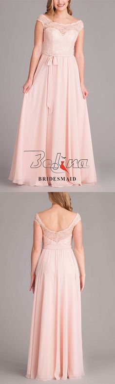 This elegant pearl pink lace illusion bodice long pleated chiffon bridesmaid dress is definitely an eye catcher. It has a sweetheart-cut bodice with beautiful floral lace illusion neckline and cap sleeves. The lace back neckline plummets into a deep scoo Pink Lace, Floral Lace, Blush Bridesmaid Dresses, Wedding Dresses, Illusion Neckline, Lace Back, Ever After, Illusions, Cap Sleeves