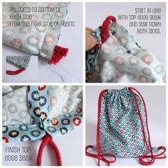 DIY: drawstring backpack - an easy project to make with Babyville Boutique fabrics and Dritz grommets. #sewing