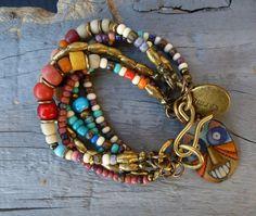 Gypsy Bohemian six strand beaded charm bracelet by BeadStonenSkin, €40.00