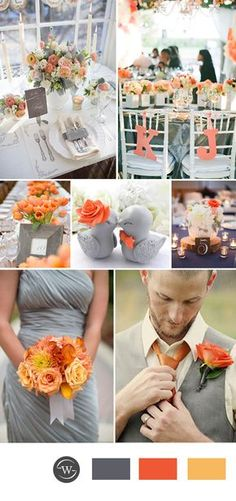 orange and grey wedding color combos for spring